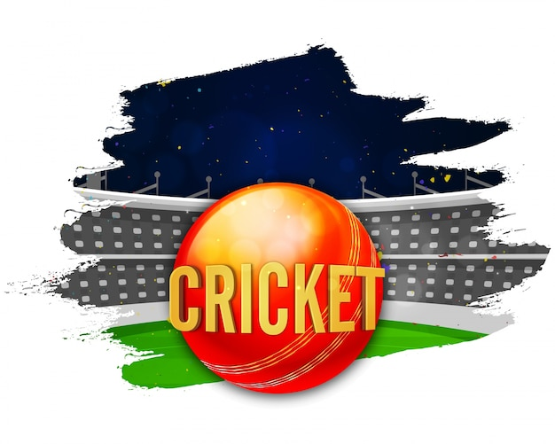 Cricket stadium with red ball, creative abstract brush stroke background for sports concept.
