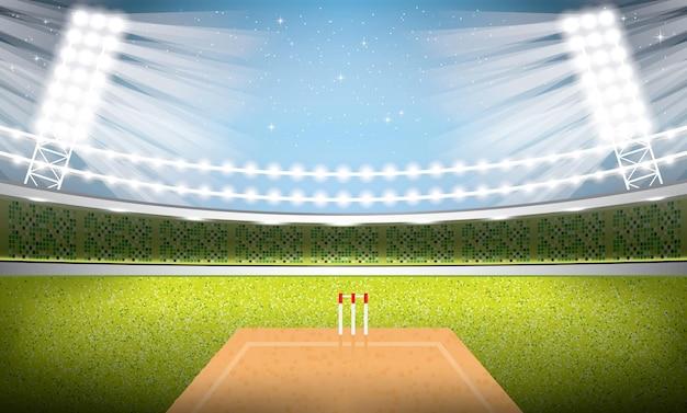 Cricket stadium with spotlights