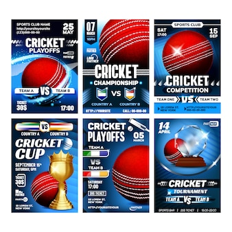 Cricket team sportive game posters set