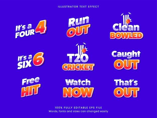 青い背景のクリケットのテーマフォントコレクション。