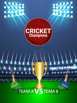 Cricket tournament concept with stadium and trophy