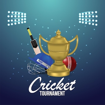 Cricket tournament  live match with cricket equipment with stadium