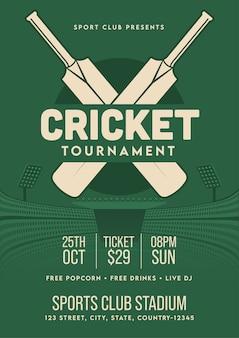会場の詳細が記載されたレトロなスタイルのクリケットトーナメントテンプレートまたはチラシ。