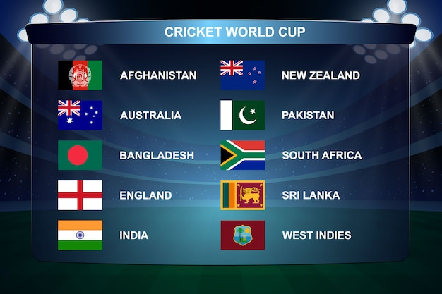 Cricket world cup flags illustration