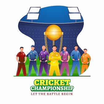 Cricketers character in different color attire with winning trophy cup on abstract stadium background for cricket championship.