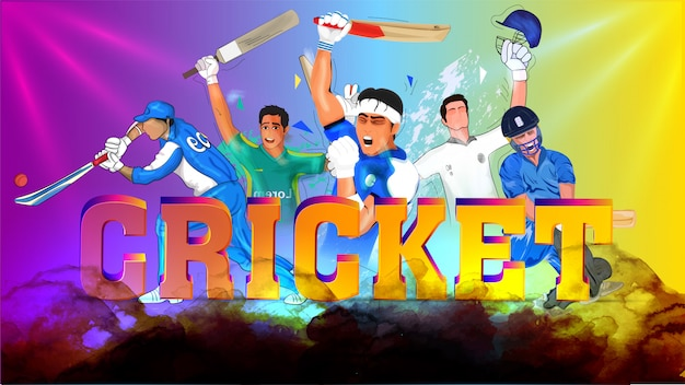 Cricketers in playing action with 3d text cricket