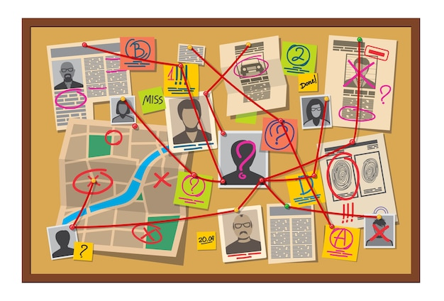 Crime board with pins and evidence connected with red thread Premium Vector
