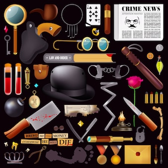 Crime. detective's things. magnifying glass. gold medallion. knife in blood. shot hat. human trace. set master keys. crime scene. sherlock. holmes. criminal plot. murder investigation. stolen thing.