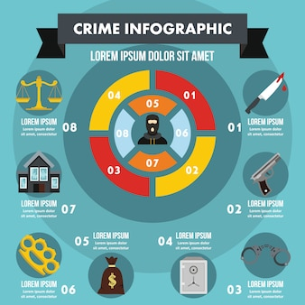 Crime infographic concept, flat style