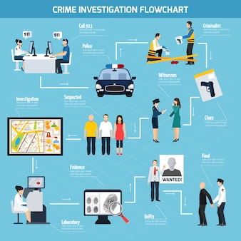 Crime investigation flat flowchart