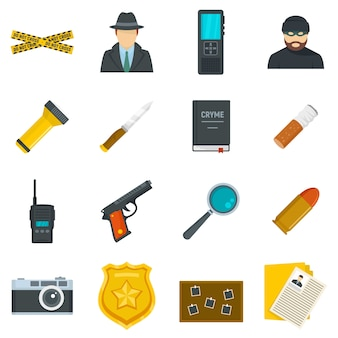 Crime investigation icons set