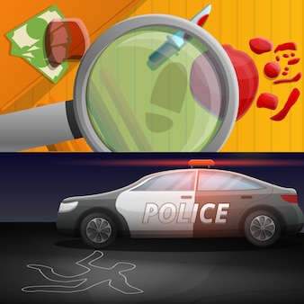 Crime investigation illustration set on cartoon style