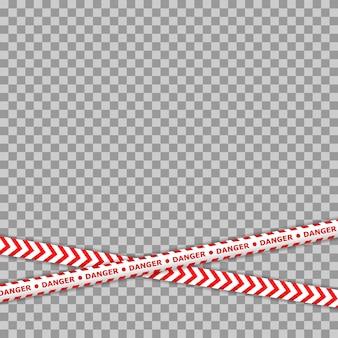 犯罪ラインテープ。警察の危険注意ベクトル赤い障壁。警告テープ。