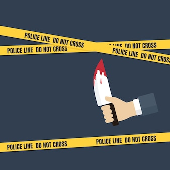 Crime scene concept, people hand holding knife with dripping blood