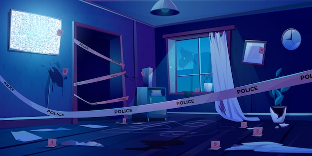 Crime scene at night, murder place in dark room