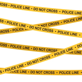 Crime scene yellow tape, police line do not cross tape. cartoon flat-style. vector white background.