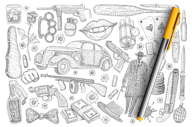 범죄와 강도 기호 낙서 세트. 고립 된 모자에 손으로 그린 총 돈 독 럭셔리 자동차 리볼버 권총 형사의 컬렉션입니다.
