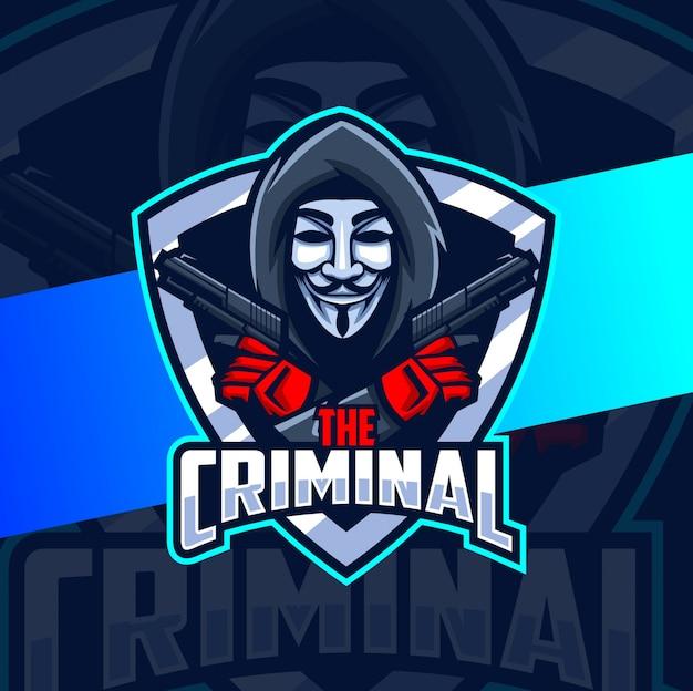 銃のマスコットのロゴデザインで匿名の犯罪者
