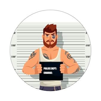 白い背景に分離された犯罪者のアバター