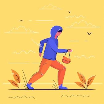 Criminal character carrying female handbag robber running away theft concept full length sketch