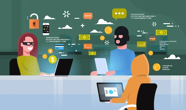 Criminal group black mask sitting at computer