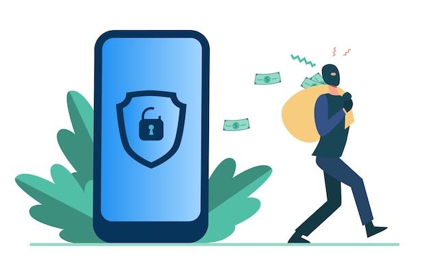 個人データをハッキングしてお金を盗む犯罪者。ロック解除電話フラットイラストから現金でバッグを運ぶハッカー。