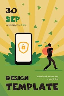 Criminal hacking personal data and stealing money. hacker carrying bag with cash from unlock phone flat flyer template