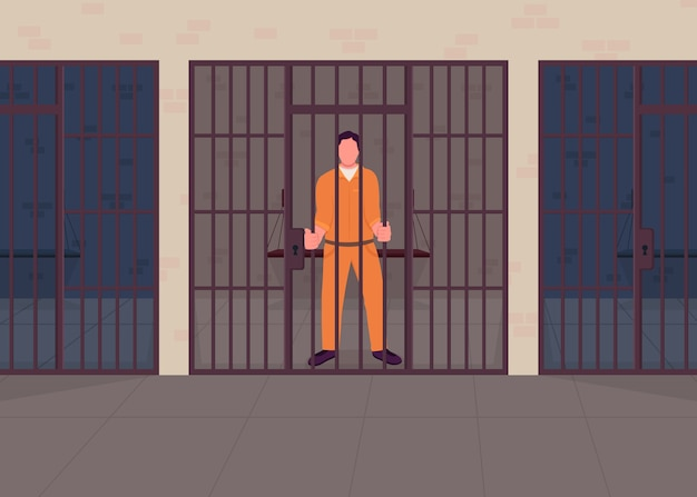 Преступник в тюрьме плоские цветные рисунки. арестованный осужденный за решеткой. правосудие наказание за преступление. подозреваемое задержание. виновный заключенный 2d мультипликационный персонаж с тюремной камерой на фоне