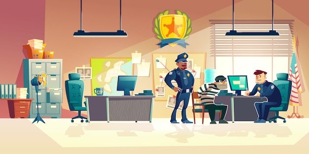 Criminal interrogation in police cartoon illustration