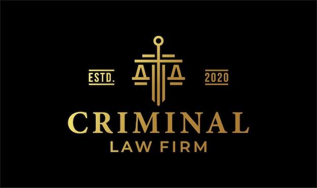 Criminal law firm logo design with golden color.