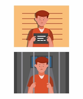 Criminal man in identity room and inside to cell prison, man in jail scene set cartoon flat illustration