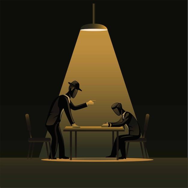 スポットライトのある暗い部屋での犯罪者の紹介。疑わしい概念を持つ探偵警察