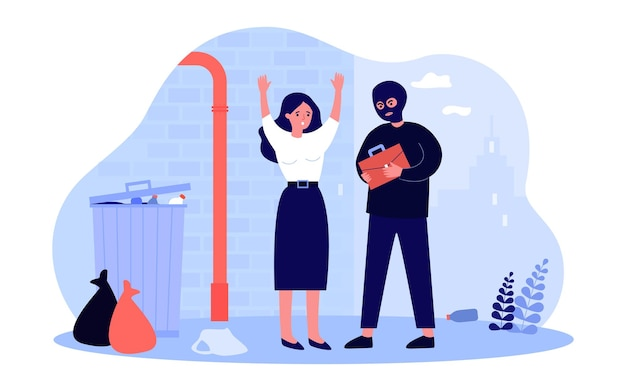 Criminal in mask holding bag of scared woman in alleyway. dangerous thief stealing purse near trash can flat vector illustration. crime, safety concept for banner, website design or landing web page
