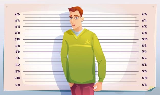 警察または刑務所での犯罪者のマグショット