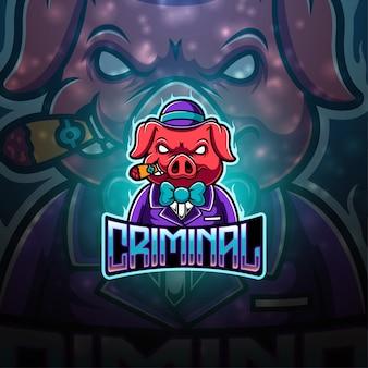 Criminal pig esport mascot logo