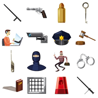 Criminal symbols icons set, cartoon style