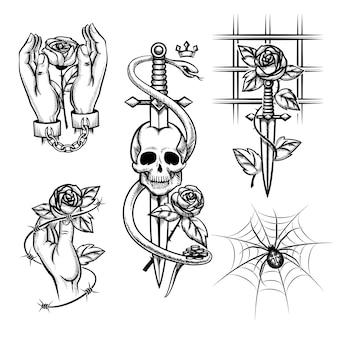 범죄 문신. 막대, 거미 및 두개골 뒤에 칼의 손에 장미. 수갑 및 케이지, 와이어 및 금속 체인. 벡터 일러스트 레이 션