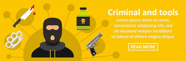 Criminal and tools banner horizontal concept