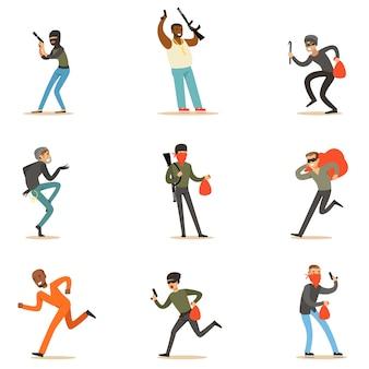 Преступники и преступники набор героев мультфильмов с бандитом, грабителем, вором и другими опасными публичными врагами