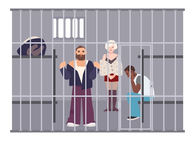 Criminals in cell at police station or jail. prisoners locked up in room with metal grid. offenders or arrested people in detention center. flat cartoon characters. colorful vector illustration.