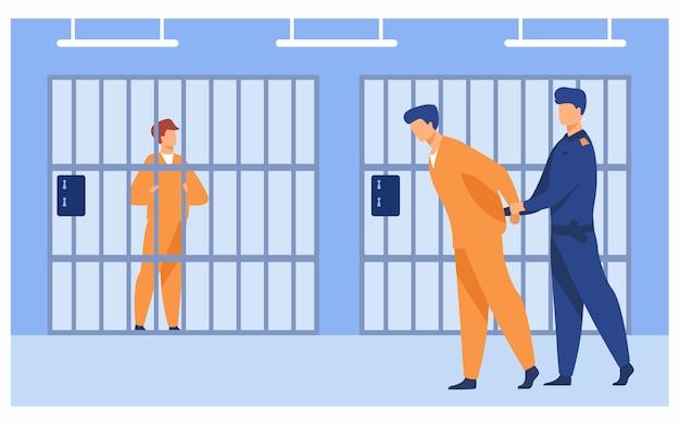 Преступники в тюрьме концепции