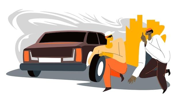 Преступники угоняют автозапчасти в городе, работающие в группе мужчины забирают шины у транспорта. незаконная деятельность персонажа в городе. грабежи и кражи, преступники извне. вектор в плоском стиле