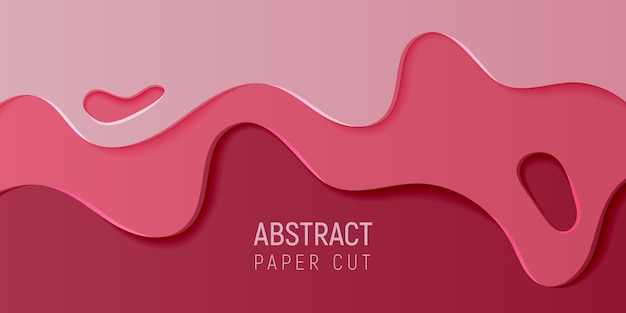 Crimson abstract paper art slime background. banner with slime abstract background with pink and wine-colored paper cut waves.