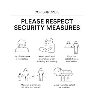施設に入るためのセキュリティ対策が記載された有益なポスター。 crisis covid-19