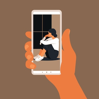 Crisis hotline concept with hand holding a smartphone illustration