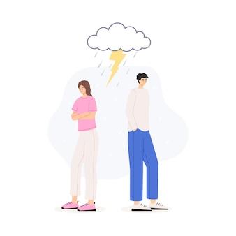 Кризис в паре между мужем и женой векторные иллюстрации изолированы