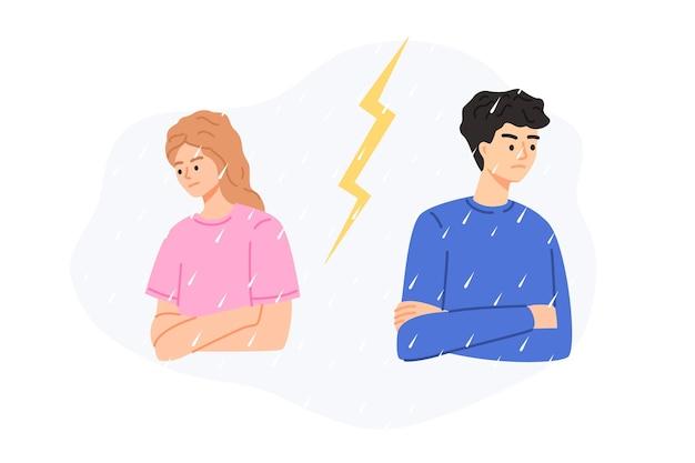 Кризис в отношениях пары между мужчиной и женщиной векторная иллюстрация изолированы