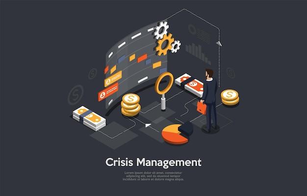 Crisis managemet conceptual art on dark.