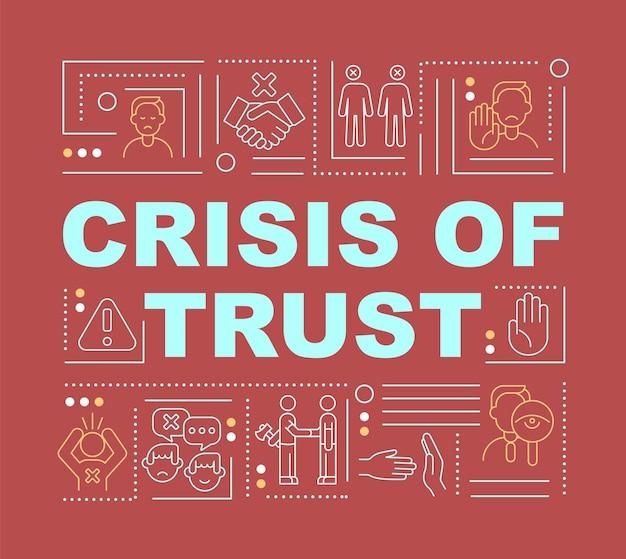 신뢰의 위기와 글로벌 사기 단어 개념 배너