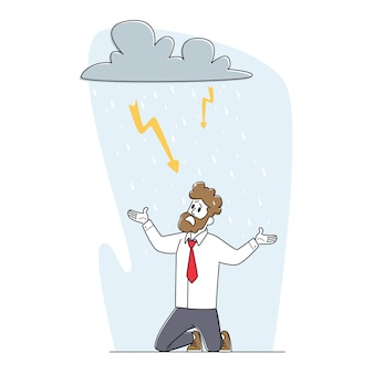 Crisis, professional problems concept. frustrated business man kneel suffer under rainy cloud with sparkling flashlights above head